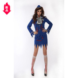 Wholesale sexy cosplay stewardess resale online - Halloween Ghost Festival Terror Bloody Belt Blood Airline Stewardess Clothes Female Zombie Mummy Clothes Nightclub Cosplay Student Clothes