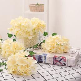 Decorative wall lighting online shopping - cm Hydrangea Flower Head Forks Home Decorative Silk Flowers DIY Wreath Wedding Wall Road Lead Arch Flowers