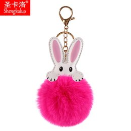 photo ears NZ - 2020 New Popular Pendant Plush Keychain Rabbit Ears Faux Fur Bag Keychain Accessories Plush Ball Pendant Lady Keychain Key Chain Wallet