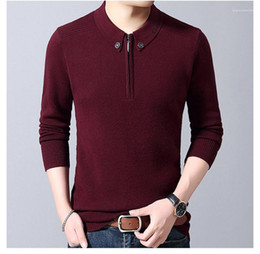 Wholesale long sleeve half sweater resale online - Casual Slim Mens Sweater Fashion Half Zipper Mens Sweater Designer Long Sleeve Lapel Neck Pullover Sweater