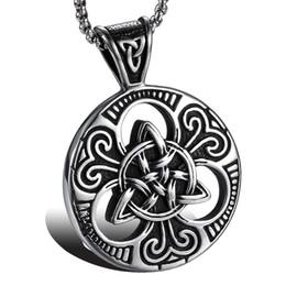Vintage Necklaces Unisex Australia - Lujoyce Men's Lrish Celtics Trinitys Knot Pendant Necklace for Men Stainless Steel Unisex Vintage Gotycki Male Jewelry