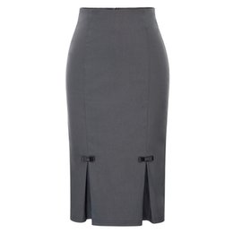 0358800596ad Bp Women Pencil Skirt Vintage Retro Bow-knot Decorated Hips-wrapped Bodycon Knee  Length Skirt Solid Color Classic Work Skirt Y190428