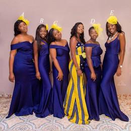simple african wedding dresses 2019 - Nigerian African Long Cheap Simple 2019 Mermaid Bridesmaid Dresses Satin Pleats Off Shoulder Maid of the Honor Wedding P