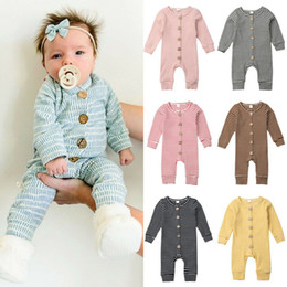 Wholesale gray rompers for sale – dress Baby Girls Boys Striped Rompers Infant Stripe Jumpsuits Autumn Boutique Children Knitted Warm Outfits Kids Climbing Clothes M676