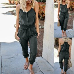 $enCountryForm.capitalKeyWord Australia - 2019 Sexy Overalls For Women Solid O-Neck Sleeveless Off Shoulder Bandage Backless Casual Jumpsuits rompers Womens Jumpsuit 41