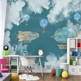 $enCountryForm.capitalKeyWord Australia - Nordic Children's Room Background Wall Paper 3D Hand-painted Cartoon Airplane Hot Air Balloons Mural Wallpaper for Kids Room
