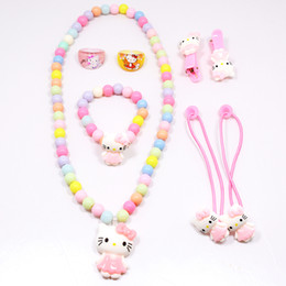 $enCountryForm.capitalKeyWord Australia - Hot Sale Children Baby Girl Hair Accessories Set Hello Kitty Jewelry Set Rings Hair Rope Necklace Bracelet Hairpin Party Gifts