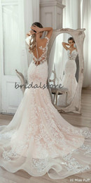 unique colorful gowns Australia - Beautiful Champagne Mermaid Wedding Dresses Illusion Top Slim Boho Wedding Dresses Button Back Train Unique Church Garden Bridal Gown 2020