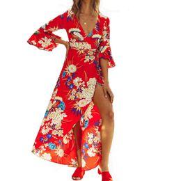 215dbb050830a6 Summer Boho Floral Print Maxi Dress Sexy V-Neck Flare Sleeve Women Tunic  Vintage Elegant Party Beach Sundress 2019 Vestido S-XXL