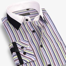 Black White Striped Dress Sleeves Australia - 2016 new Striped Shirt men white black patchwork collar long sleeve Slim fit 100%Cotton business mens dress shirts Plaid shirt #435282