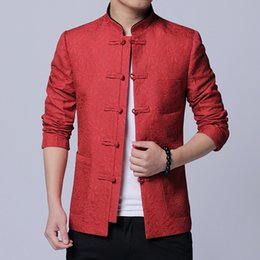 Chinese Casual Jacket NZ - Top Quality Men Jacket Chinese Style Retro Pan Kou Mens Casual Jackets Slim Fit Long Sleeve Oriental Traditional Clothing 4XL-M