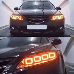 drl accessories UK - 1 Pair Car Styling Head Lamp All LED Headlight LED DRL Dynamic Signal Angel Eye Accessories for Mazda 6 Headlights 2004-2012 Mazda6