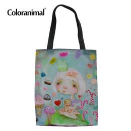 363ca255309a Coloranimal Linen Reusable Handbag Women Large Tote Bag Cartoon Painting  Girl Print Ladies Canvas Cloth Big Shoulder Bag Eco