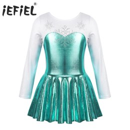 Wholesale gymnastic costumes for sale - Group buy Kids Girls Dancewear Costume Ballerina Shiny Rhinestone Snowflake Metallic Bodice Ballroom Ballet Dance Gymnastics Leotard Dress