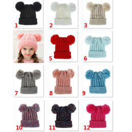 $enCountryForm.capitalKeyWord Australia - Warm Kids Knit Crochet Beanies Hat Xmas Warm Girls Double Ball Cap Outdoor Pom Ski Cap For Children Christams 12 Color DHL HH9-2421