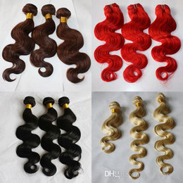 burgundy black hair dye NZ - 100g piece 3pcs lot Body Wave Blonde Red 33 Natural Black 100 Human Hair Weave Weft Weave