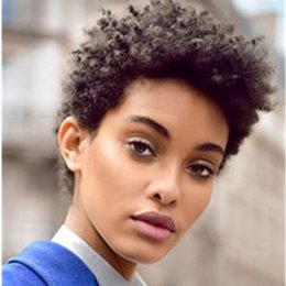 $enCountryForm.capitalKeyWord Australia - Short Human Hair Capless Wigs Human Hair Afro Kinky Curly Pixie Cut For Black Women Natural Black Short Machine Made Wig for black Women
