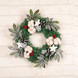 reed flowers 2019 - Christmas Wreath 40CM Door Hanging Art Rattan Reed Wreath Garland Xmas Decoration Ornaments Party Supplies Artificial Fl