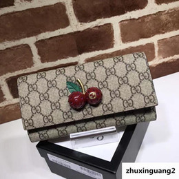$enCountryForm.capitalKeyWord Australia - Top Quality 2019 Celebrity Design Letter Embossing Diamond Cherry Buckle Two Fold Wallet Canvas Leather Woman 476055 Long Purse Clutch