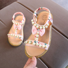 Little Girls Leather Sandals Australia - New Kids Baby Little Girls Summer Pearl Bare Toes Princess Dress Shoes Flat Beach Toddler Sandals 1 2 3 4 5 6 Years Q190601