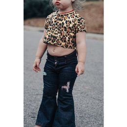 $enCountryForm.capitalKeyWord NZ - Baby Girls Leopard Print Short Sleeve T-shirt And Hole Denim Flare Pants Two Pieces Outfits Toddler Kids Clothes Sets