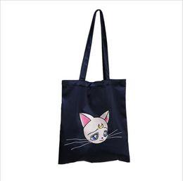 Silk Handbags Australia - Cat Embroidered Satin Silk Canvas Should Tote Bag For Women Ladies Girl Female Hand Bags Fashion Cute Handbag Shopping Totes Bag