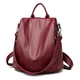 Back Packs Teenager Australia - Multifunction Female Backpack Women Leather Backpack For Teenager Girls School Bag Shoulder Travel Back Pack Rucksacks Sac A Dos