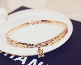 $enCountryForm.capitalKeyWord Australia - New fashion ins luxury designer multi layer super glittering diamond rose gold bangle bracelet for woman girls 19cm with cute charm