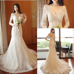 $enCountryForm.capitalKeyWord NZ - 2019 Beach Wedding Dresses Mermaid V Neck Long Sleeve Lace Applique Bridal Gowns With Crystal Beaded Sash Sweep Train