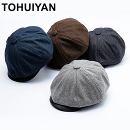 1b1400ce044 TOHUIYAN Classic Woolen Newsboy Caps Autumn Winter Warm Gorras Planas Beret  Hat Duckbill Visor Octagonal Hats For Men And Women