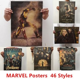 Wholesale 46 styles Wall Stickers Movie Retro Poster Vintage Anime Car Posters and Prints Coffee Marvel Film Super Heroes Kraft Paper Posters