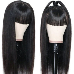 Discount dark brown human hair lace wigs Silky Straight Human Hair Wigs With Bangs For Black Women Natural Glueless Wig Long Peruvian Remy Full Machine Made Non