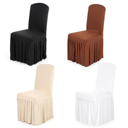 $enCountryForm.capitalKeyWord Australia - Ruffled Chair Cover Stretchable Washable Home Dining Spandex Seats Slipcover Wedding Decor for Wedding Hotel Dining Room
