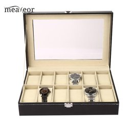 $enCountryForm.capitalKeyWord Australia - Meaneor Jewelry Watch Display Box Collection Case Holder Organizer Storage Exhibition Hall Shop Home etc Metal Buckle Black