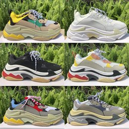 Vintage fabrics for online shopping - 2019 Luxury Platform Triple S Designer Shoes Gym Red Blue Triple Black Low Old Dad Vintage Casual Sneakers For Men Women High Quality