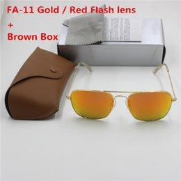$enCountryForm.capitalKeyWord Australia - YXVAXL New High Guality Fashion Brand Designer eye protection sunglasses gold frame Red flash glass lens UV400 protection brown case