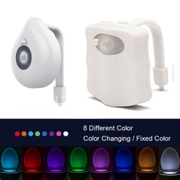 battery motion sensor night light Canada - Toilet led lights 8 Colors PIR Motion Sensor LED Night Light Battery Powered WC Light for Toilet Bowl Children