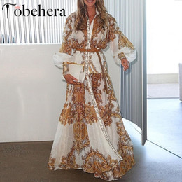 $enCountryForm.capitalKeyWord NZ - Glamaker White Paisley Print Elegant Women Dress Summer Boho Maxi Beach Holiday Dress 2019 Split Long Casual Dress Festa J190529