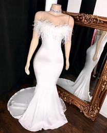 Stretching Straps Australia - Real Sample White Mermaid Prom Dresses Long 2019 Elegant Feathers V-neck Straps Stretch Satin African Black Girl Graduation Dresses