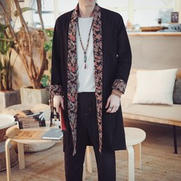 Wholesale 2019 Spring Open Stitch Coat Linen Men Long Dust coat Chinese Style han fu Loose Printed Clothing Plus size