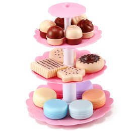 play toys kitchen set gift UK - wholesale Pretend Play Kitchen Toy Simulation Cake Food Plate Tower Assembled Model Set Birthday Gifts Toys For Children Kids Girl