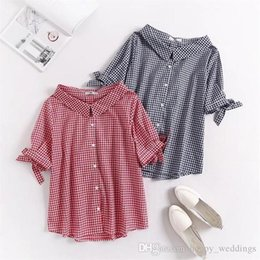 $enCountryForm.capitalKeyWord NZ - Plus Size Short Sleeve Turn-down Collar Blouses Women Nice Black & Red Plaid Shirt Casual Summer Cotton Bow Ladies Tops 5xl