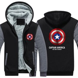 Thick Cotton Material NZ - Hot! Winter Casual Thickened Jackets men's Coats Captain America printing Cashmere Keep warm Hooded Thick Zipper cotton material Sweatshirts
