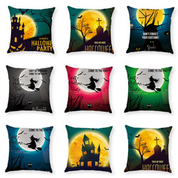 $enCountryForm.capitalKeyWord Australia - New Halloween Witch Cotton Linen Square Pillow Case Sofa Car Waist Cushion Cover Pillowslip Pillow Cover 45*45 cm