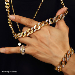 Indian Golden Chain Australia - New Hot Iced Out Chain Men Miami Cuban Link Chain Necklace Bracelets Hip Hop Jewelry Set