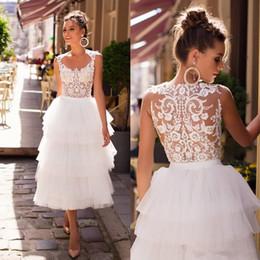 $enCountryForm.capitalKeyWord UK - Little White Dress 2020 Lastest Designer Beach Wedding Dresses Lace Applique Tea-length Tiered Skirt Outdoor Bride Wedding Gowns