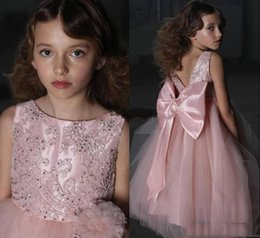 Big Bow Tulle Dress Australia - Lovely Pink A Line Flower Girls Dresses With Back Big bow floor Length Tulle Jewel Neck 2019 Girls Pageant Dresses Cheap