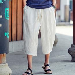 Wholesale white slim harem pants resale online – Fashion Men s Mid Pants Trousers Summer Casual Slim Sports Pants Calf Length Linen Trousers Baggy Harem m807