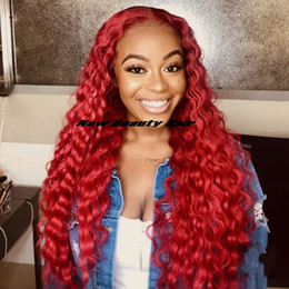 $enCountryForm.capitalKeyWord NZ - Natural soft red color 360 lace hair Wigs Long loose Curly wig for black women wine red Synthetic Lace Front Wig with baby hair