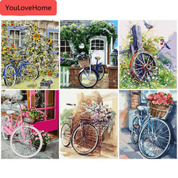 bicycle home decor 2020 - Painting By Number Flower Bicycle Drawing Canvas Acrylic Handpainted Pictures By Number Wall Art For Adults Home Decor H